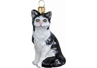 American Shorthair Cat Glass Christmas Ornament (Black & White)
