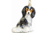 Cavalier King Charles Glass Christmas Ornament (Sitting Tricolor)