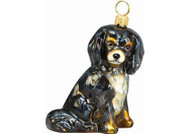 Cavalier King Charles Glass Christmas Ornament (Sitting Black & Tan)
