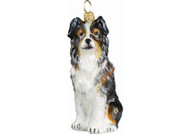 Australian Shepherd Glass Christmas Ornament (Tri-Color)