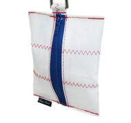 sailcloth dog waste dispenser bag with blue zip and red zig zag casco bay