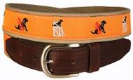 "Black Lab ""Guard Dog"" Leather Tab Belt in Orange"
