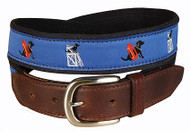 "Black Lab ""Guard Dog"" Leather Tab Belt in Blue"