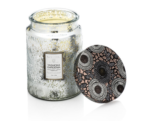 Voluspa Limited Edition Yashioka Gardenia Large Embossed Metallic Lid Glass Jar Candle