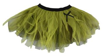 Ladies Olive Green & Yellow Funky Cyber Tutu Skirt Wood Elf Fancy Dress