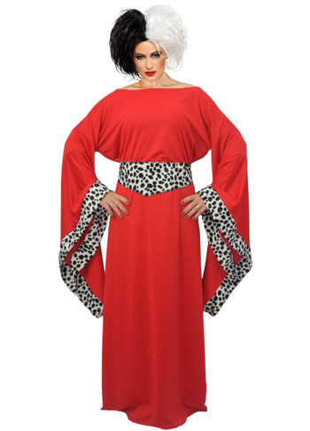 Ladies Red Cruella De Ville Costume 101 Dalmatians Halloween Fancy Dress