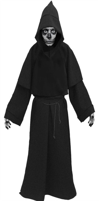 Deluxe Adults Grim Reaper Robes & Face paint Halloween Fancy Dress Evil Costume