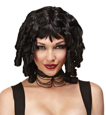 Ladies Black Ghost Doll Ringlet Halloween Fancy Dress One Size Wig