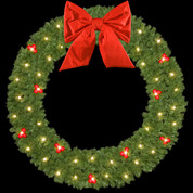 Traditional Building Mount Wreaths with Red Ball Clusters