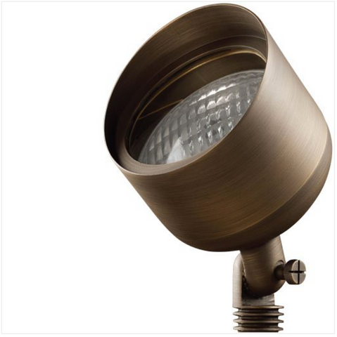 """Advantage Lightsource Cast Brass Cuban Flood Light ADV-FL-917B-PAR36-25, these lights are used to highlight large trees, homes, walls, and hedge lines. They come with a stake mount but the base can be mounted on walls or other flat surfaces and adjusted appropriately. The bases can even be mounted on large trees to deliver the """"moon light"""" effect."""