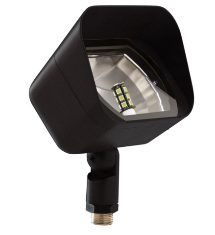 """Sollos FRF058-TB, flood light with a cast brass or architectural aluminum housing, and a clear tempered glass.  8"""" Ground stake is included.  Supplied w/50W T3 JC50 (not pictured)."""