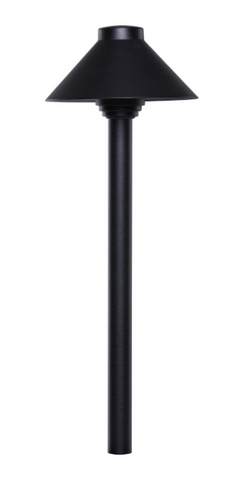 "Sollos PSH055-TB-18 Straight hat path light with a architectural aluminum housing.  Clear tempered glass.  8"" ground stake included. A T3 bi-pin 20 watt lamp is included."