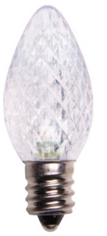 BOX QTY: 25 BULBS CASE QTY: 1000 BULBS Make your home look like Elsa's ice castle with these vibrant white LED bulbs. These bulbs when accented with blue will turn your home or business into a winter wonderland. Cool white bulbs look great on roof lines, bushes, trees, and even indoors for family rooms or accent lighting. The low energy using LED's generate a vibrant glow that lasts seven times longer than other bulbs.  •Each bulb has three professional grade LED's inside to create a bright glow. •The low watt LED bulbs allow for you to make longer runs while using low amounts of energy. •The bulbs remain cool to the touch because of the low energy LED bulbs inside. •These durable smooth textured bulbs have a 60,000 hour lifespan •We use nickel platted bases instead of brass to prevent corrosion. •Now you can get an LED C7  lamp without the faceted caps.  •Indoor and Outdoor use *Per bulb price varies per bulb color*