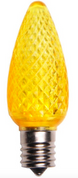BOX QTY: 25 BULBS CASE QTY: 1000 BULBS Shine bright like the gold standard with these bright yellow LED bulbs. These LED yellow bulbs would bring your Mardi Gras party to life when accent with other green and purple LED bulbs. The low energy using LED's generate a vibrant glow that lasts seven times longer than other bulbs. The durability of these bulbs make them great for lining walk ways or fencing. •	Each bulb has three professional grade LED's inside to create a bright glow.  •	The low watt LED bulbs allow for you to make longer runs while using low amounts of energy.  •	The bulbs remain cool to the touch because of the low energy LED bulbs inside.  •	These durable smooth textured bulbs have a 60,000 hour lifespan •	We use nickel platted bases instead of brass to prevent corrosion. •	Now you can get an LED C9 lamp without the faceted caps.  •	Indoor and Outdoor use *Per bulb price varies per bulb color*