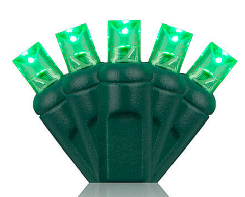"Transform your home like the hulk with these bright green 5mm LED's. Your neighbors will think you have the green thumb of the neighborhood when you hang these lights in your trees or bushes. When accented with red LED's these green strands will make your home festive this Christmas. This low energy LED strand provides you the opportunity to plug in up to 38 strands into one another on a single run. The durability of this strand makes it great for lighting trees, bushes, and even inside your home or business.   •	A 5mm bulb that comes in both 6-inch spacing (25ft) and 4-inch spacing (17ft) in a 50 light set. •	The 4"" spacing or 17-foot strand, is better for wrapping trees. •	The 6"" spacing or 25-foot strand, is better for canopies in deciduous trees and evergreen trees and bushes. •	Connect up to 43 sets end to end.  •	Bulb Life of 100,000 hours. •	If one bulb burns out, the rest will continue to burn.  •	Cool burning because of the low energy usage.  •	This end to end strand has molded on sockets with rectified construction. •	Sold in polybags for easy use. •	Indoor and outdoor use.  •	Non fading for years of enjoyment.  •	Three Year Guarantee."