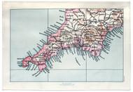 Devon & Cornwall map tea towel Jane Revitt Shop