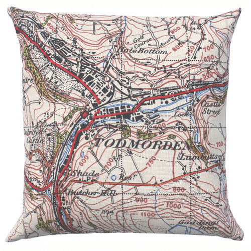 Todmorden map cushion in linen
