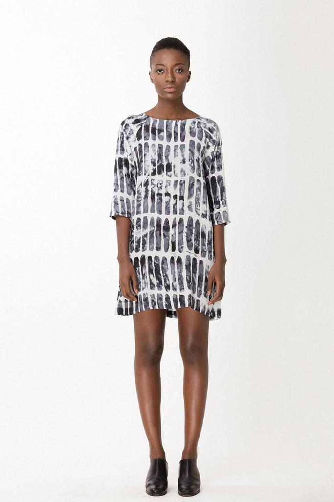 Linter Dress, Black Chalk