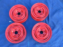 1956-62 CORVETTE ROMAN RED ORIGINAL STEEL WHEELS NO PITTING TABS FOR HUBCAPS
