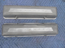 1956-57 CORVETTE ALUMINUM 9-FIN VALVE COVERS ROCHESTER FUEL INJECTION FI