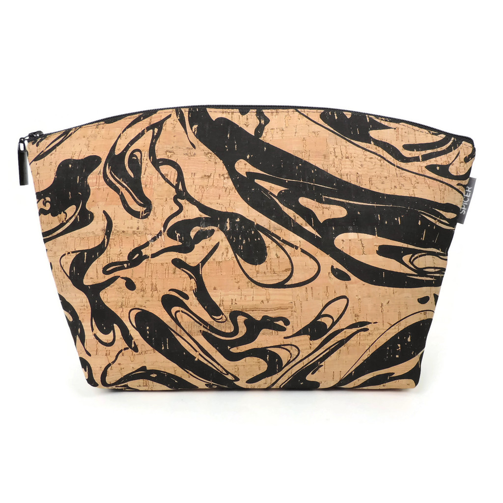 Large Standing Pouch in Black Ink Cork