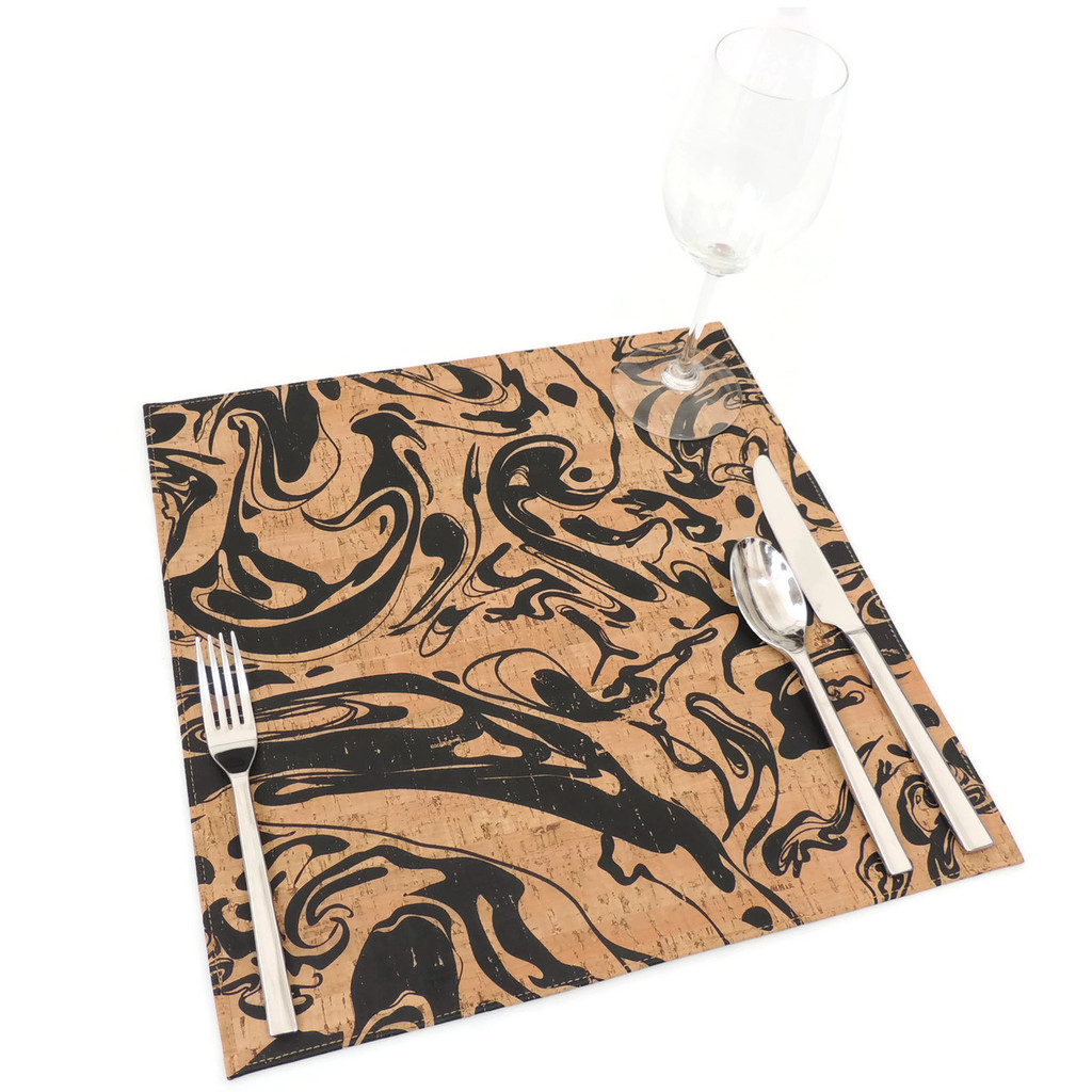 Square Placemat in Black Ink Cork
