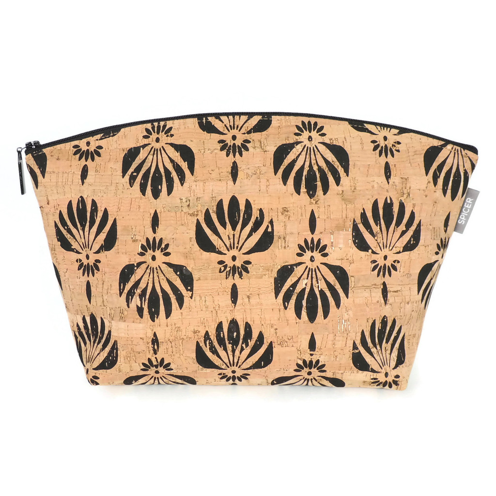 Large Standing Pouch in Black Lotus Cork
