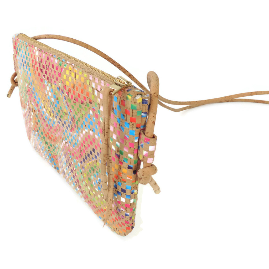 Cork Strap Crossbody Purse in Mosaic Cork