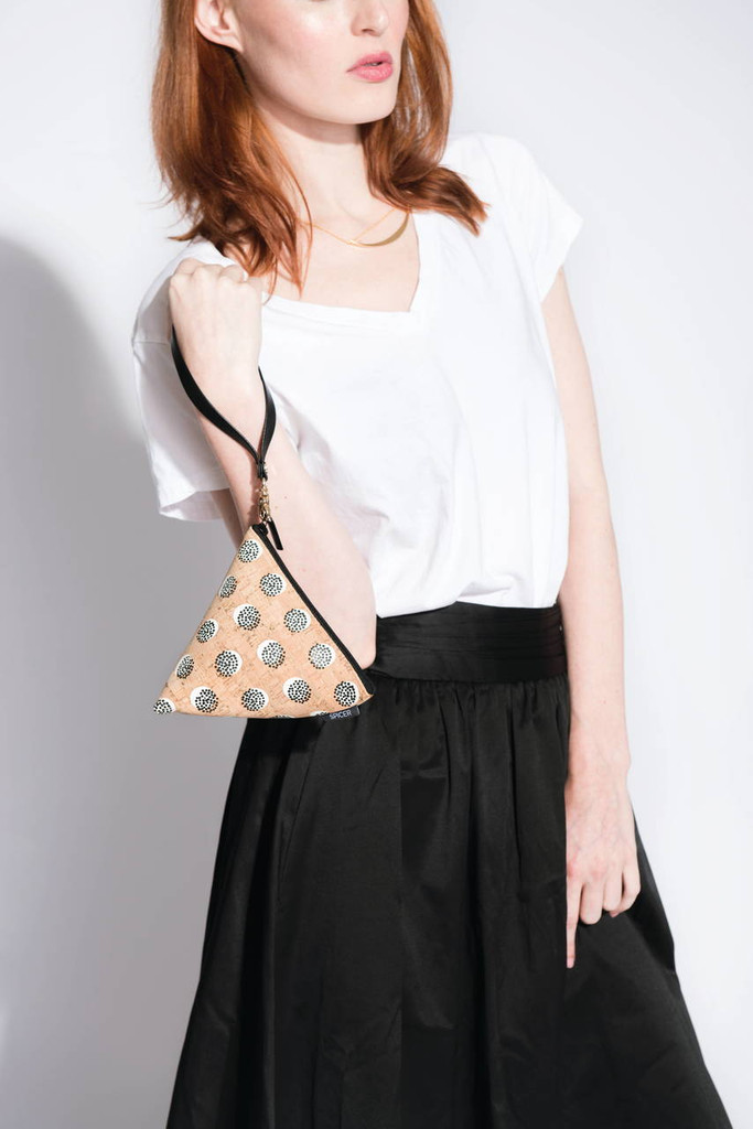 Triangle Pouch in Black Cork Dots