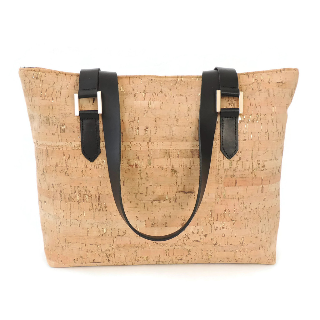 Boot Tote in Cork Dash Gold with Black Leather