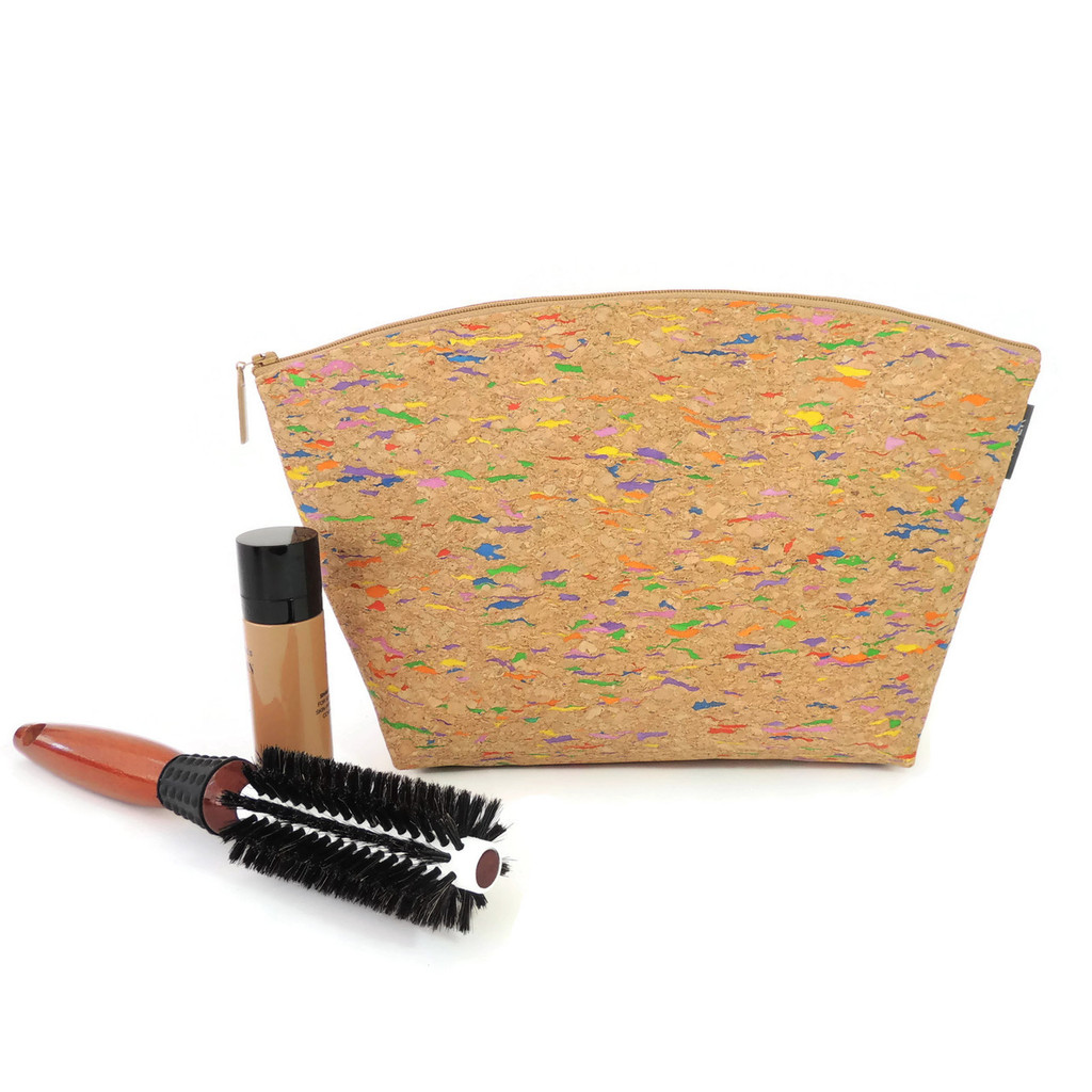 Extra Large Standing Pouch in Multicolor Cork
