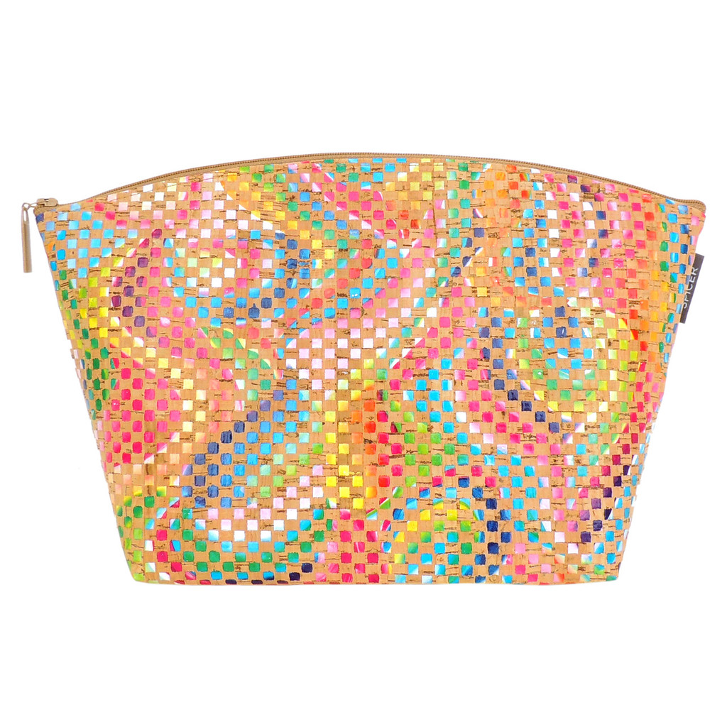 Extra Large Standing Pouch in Mosaic Cork