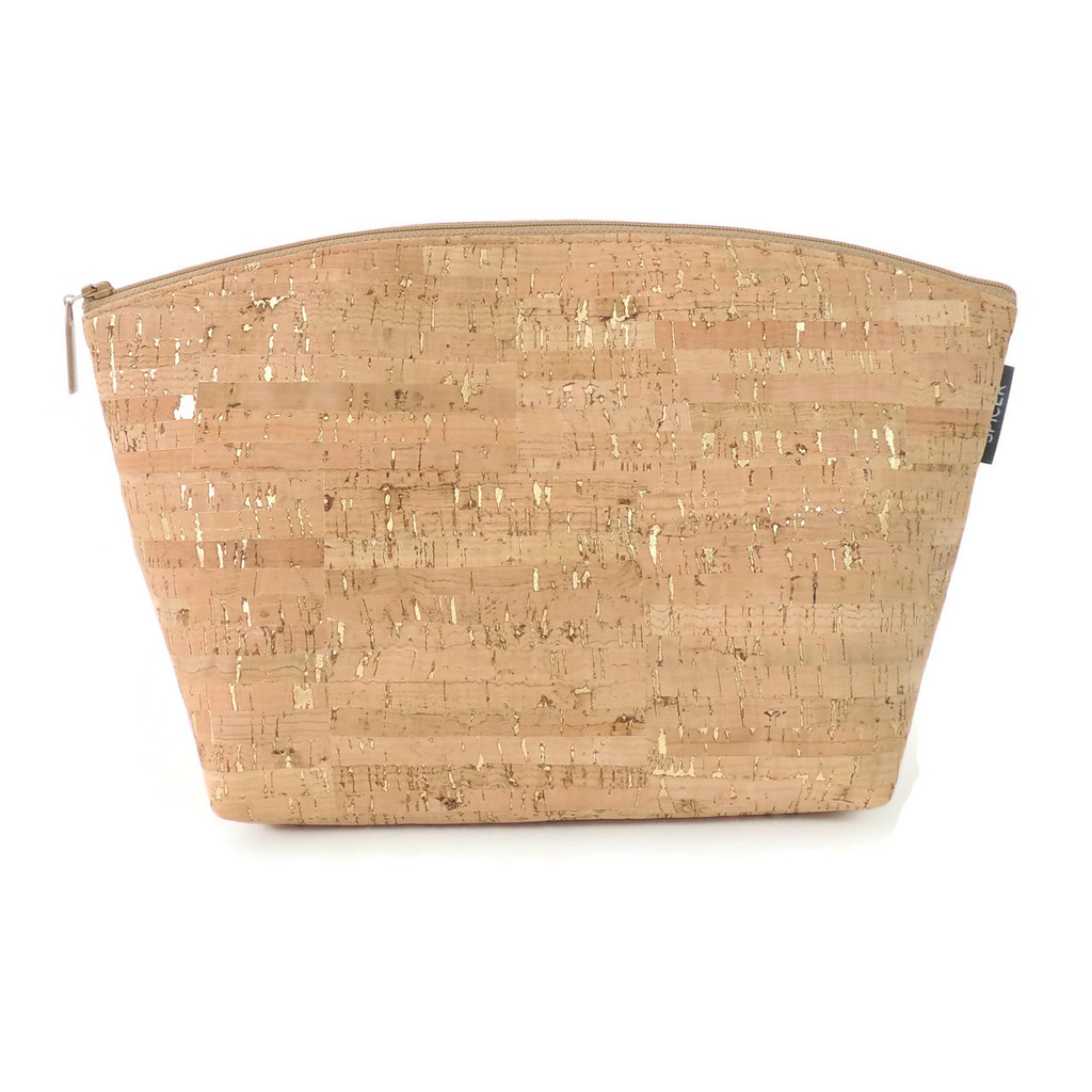 Extra Large Standing Pouch in Cork Dash Gold