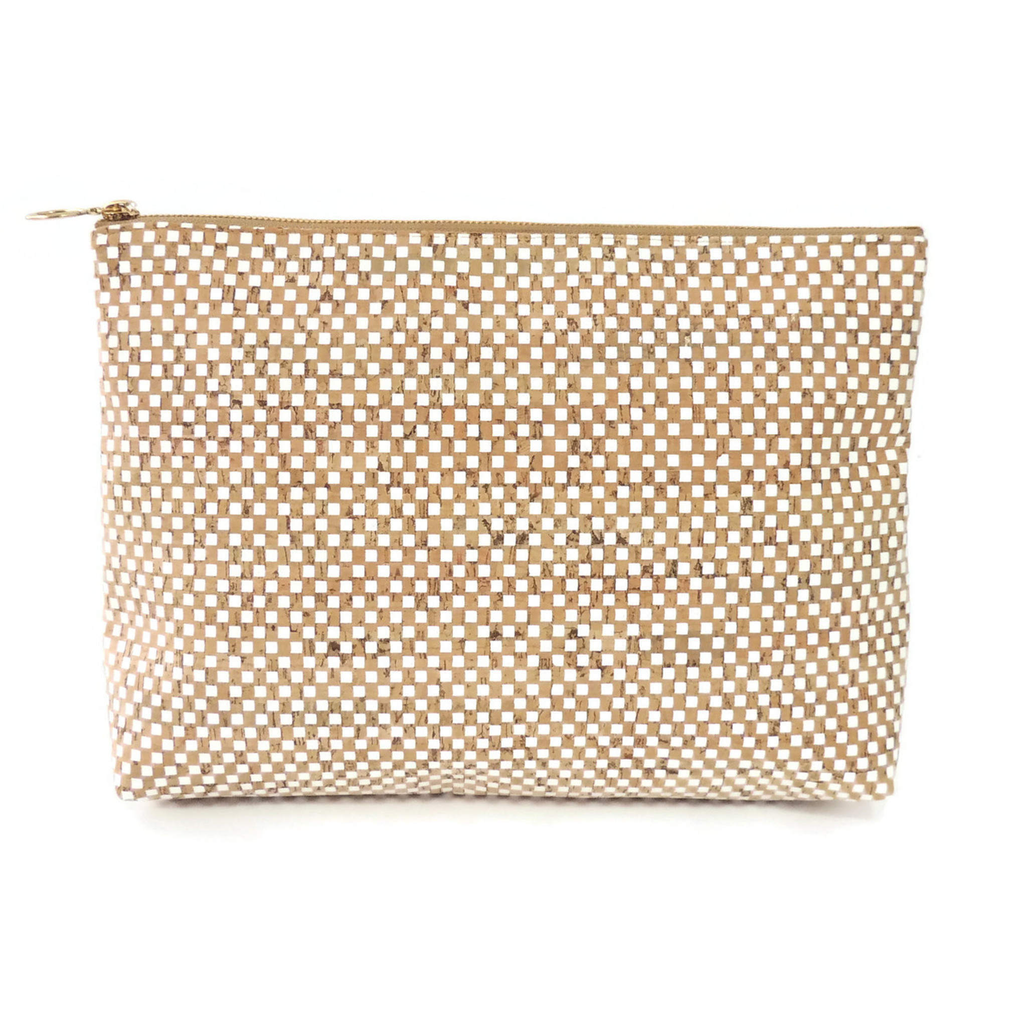 Carryall Clutch in White Check Cork