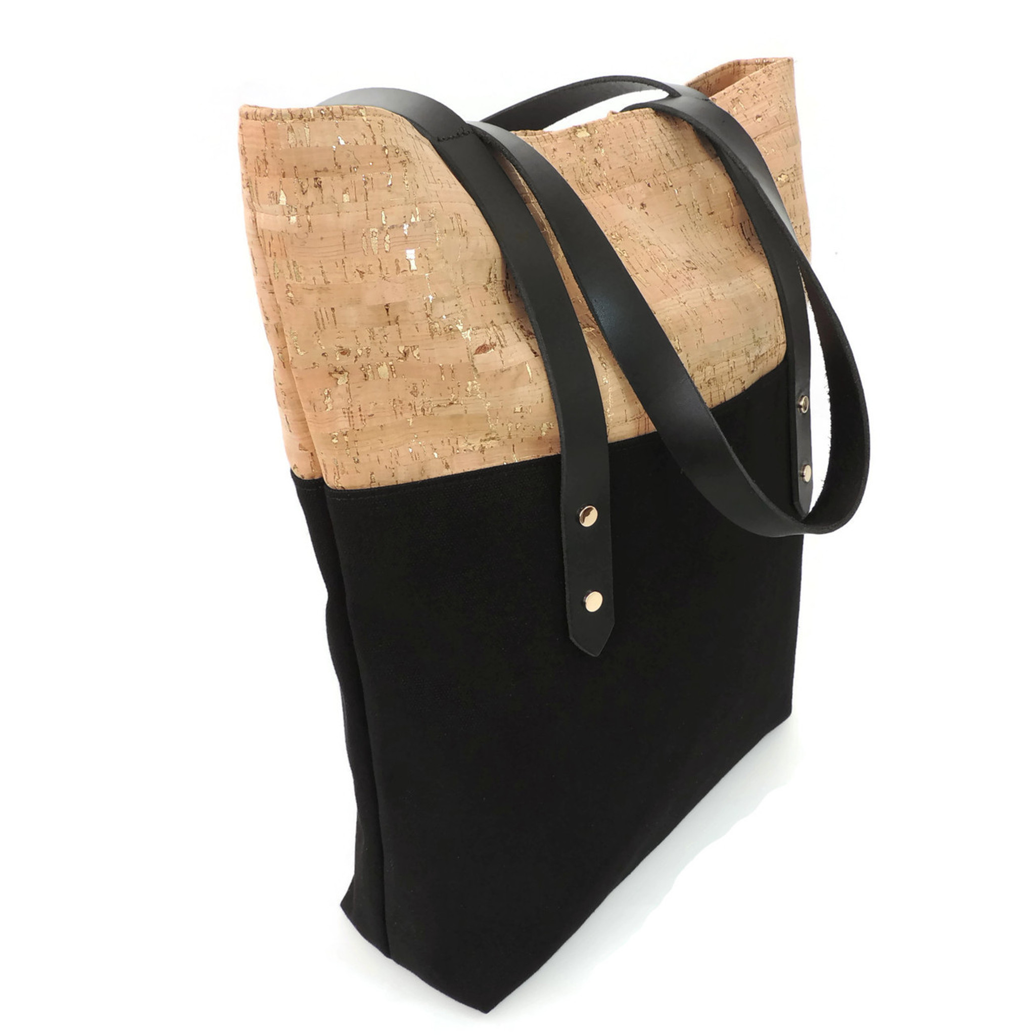 Big Boot Tote in Cork Dash Gold with Black Canvas