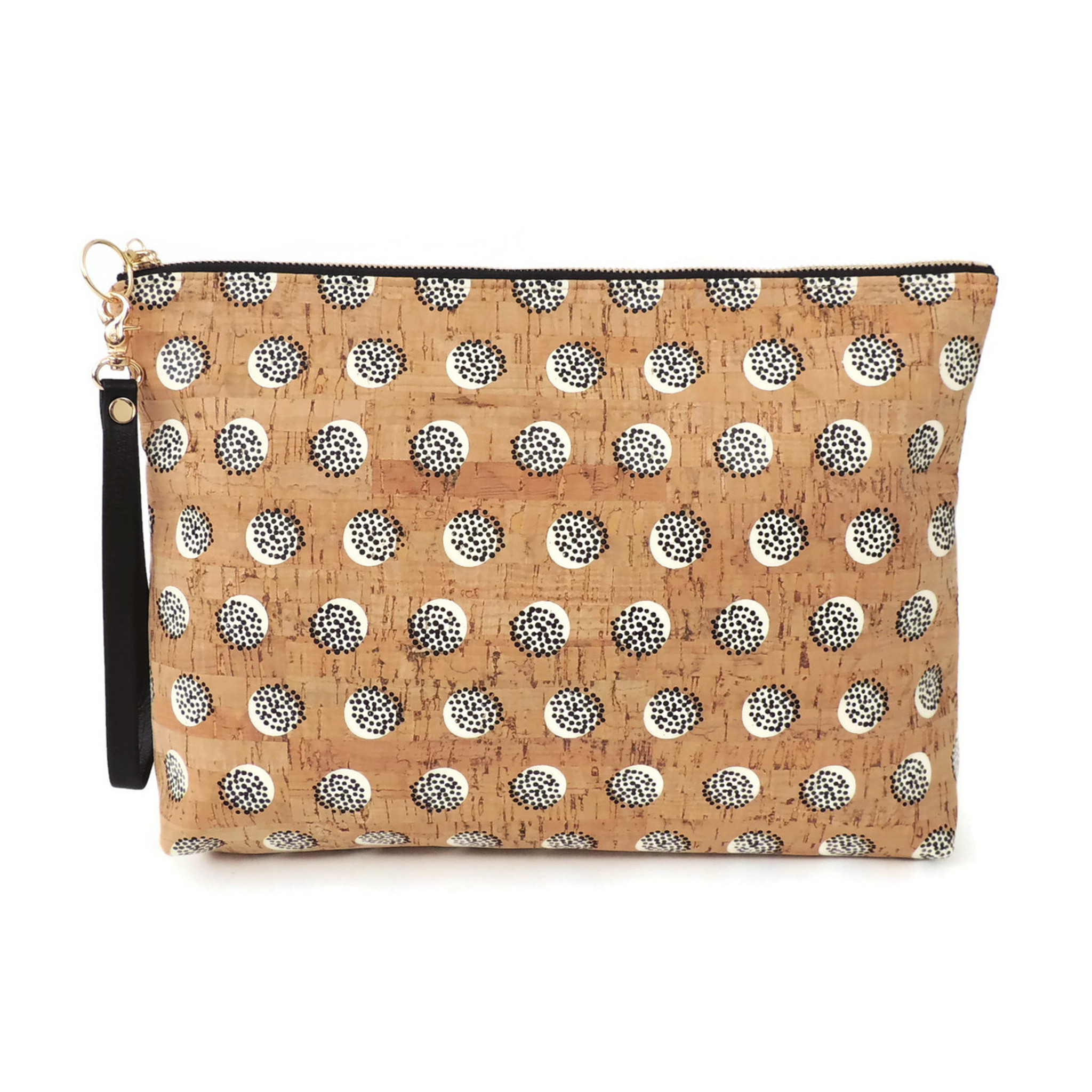 Carryall Clutch in Black Dandelion Cork