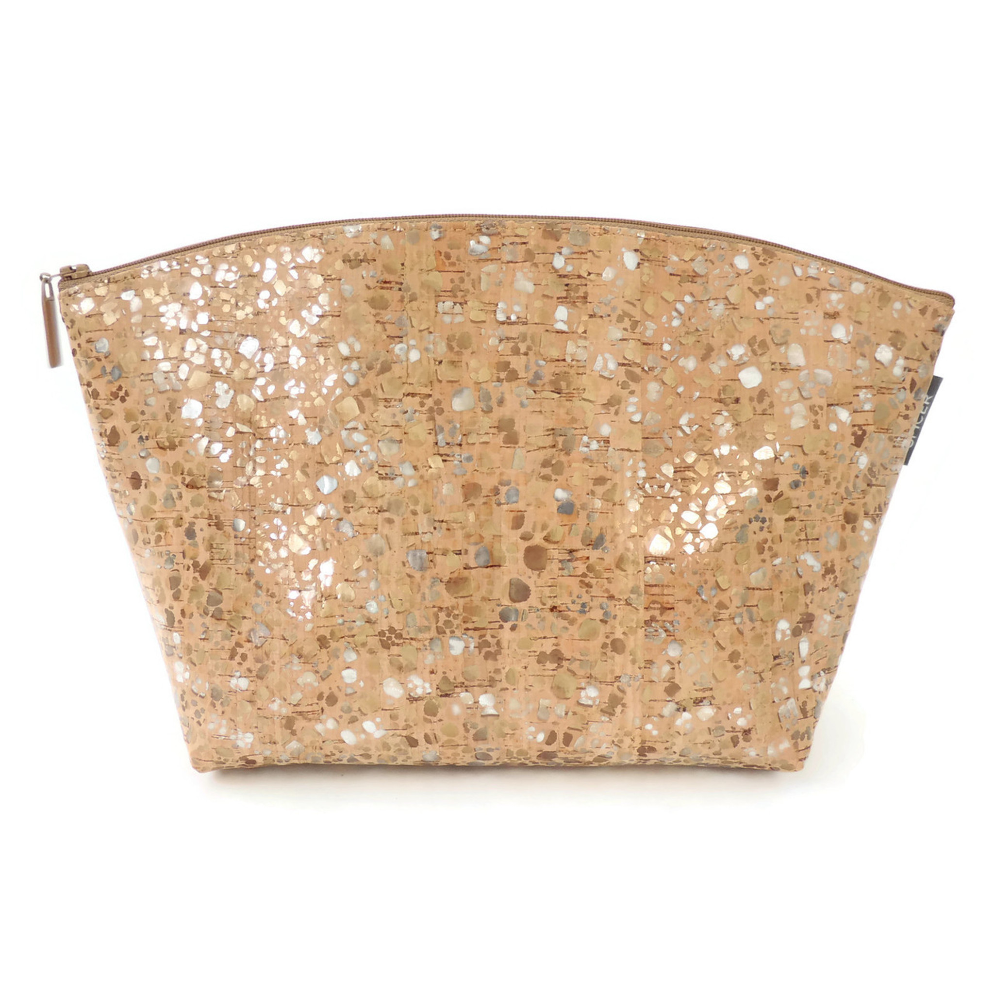 Large Standing Pouch in Metallic Pebble Cork