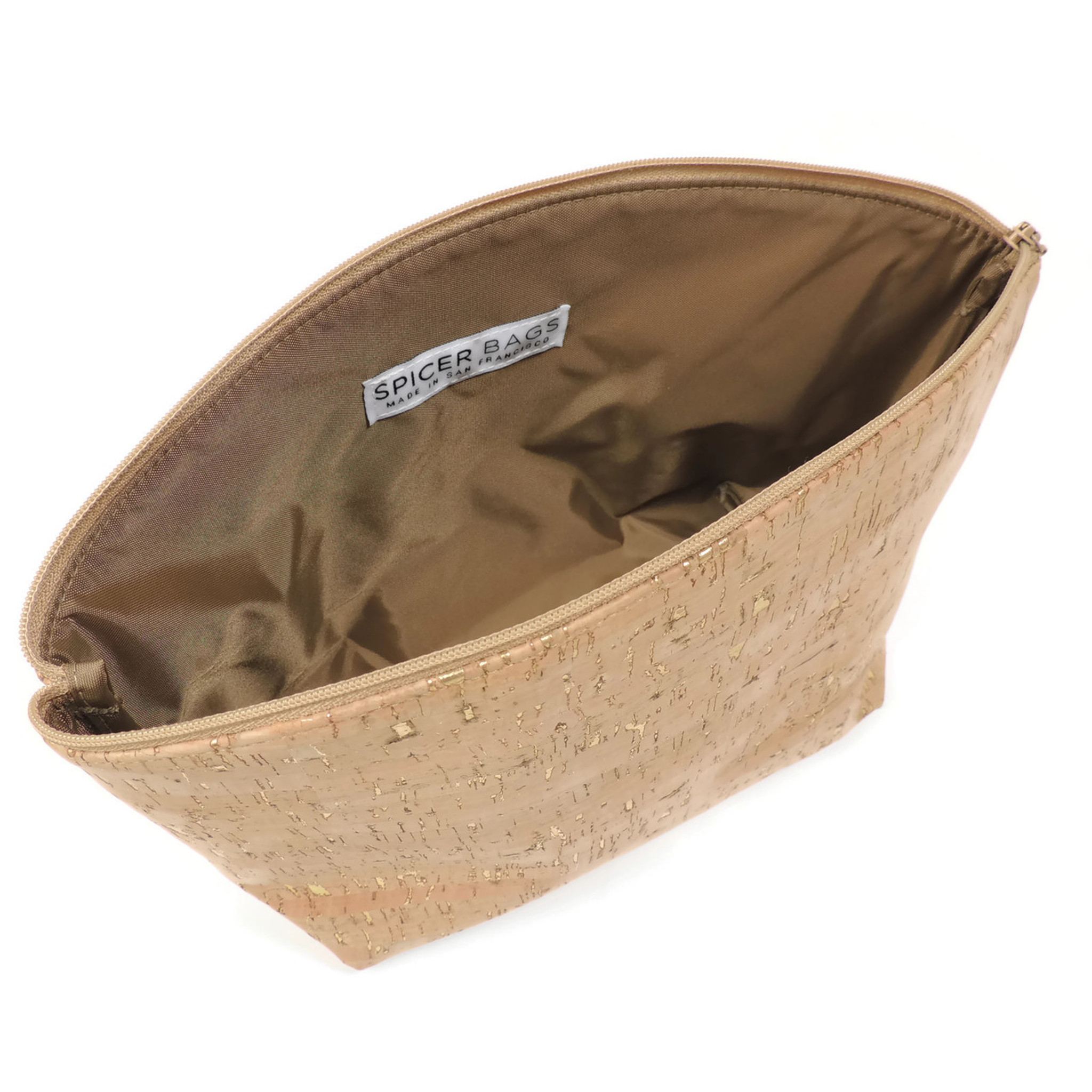 Large Standing Pouch in Brushed Gold Cork