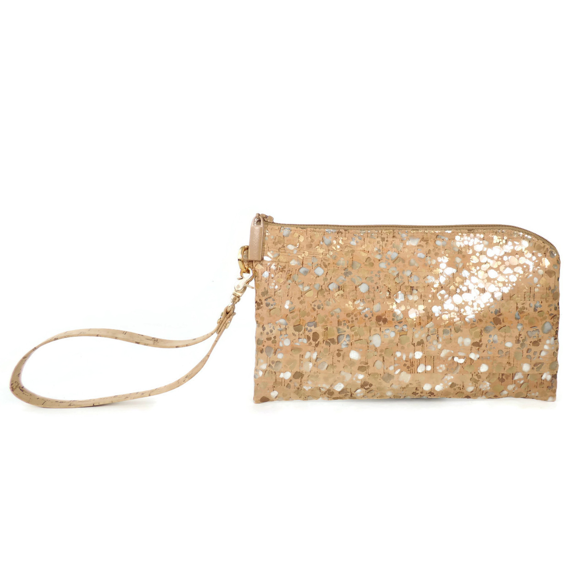 Phone Wristlet in Metallic Pebble Cork