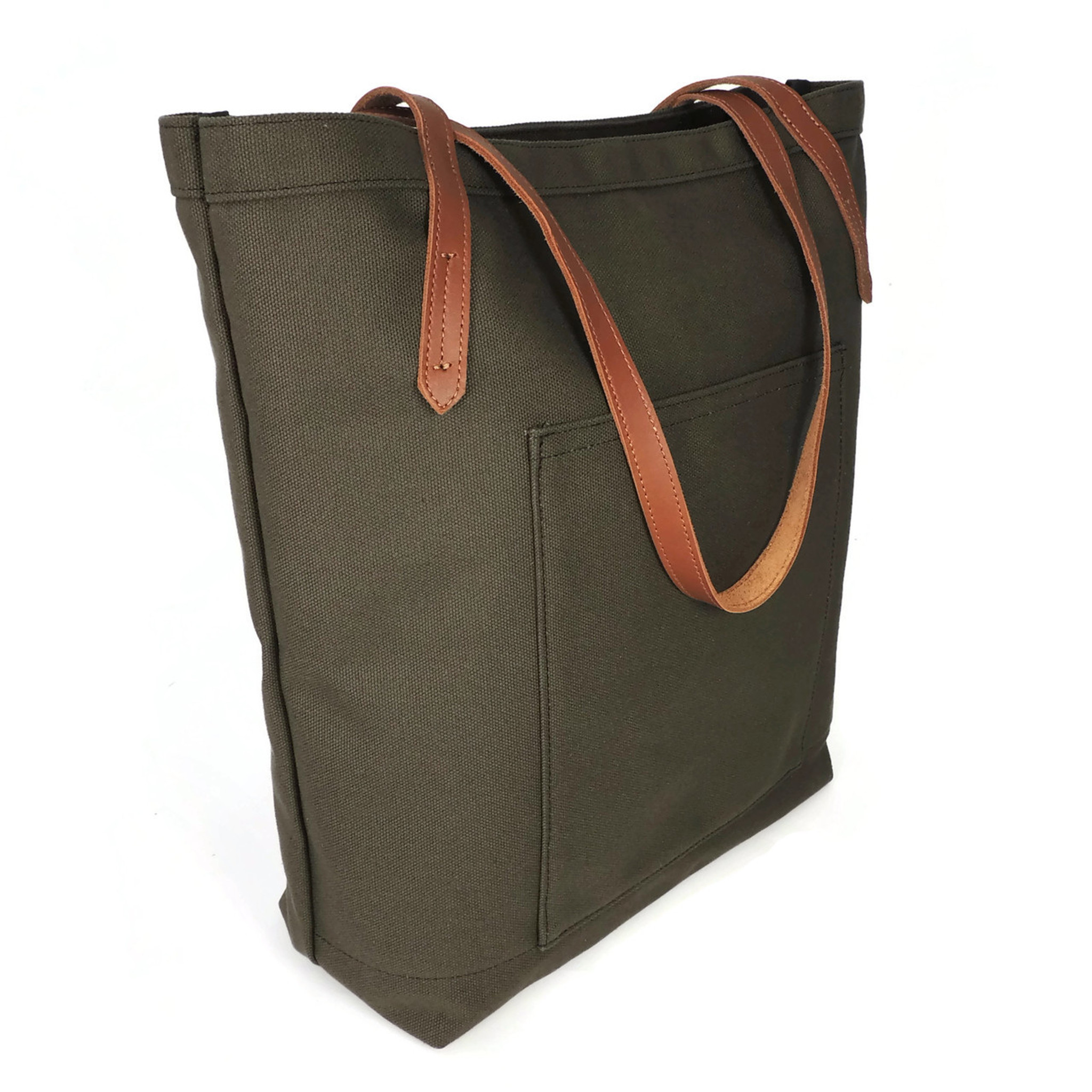 Pocket Tote in Olive Canvas