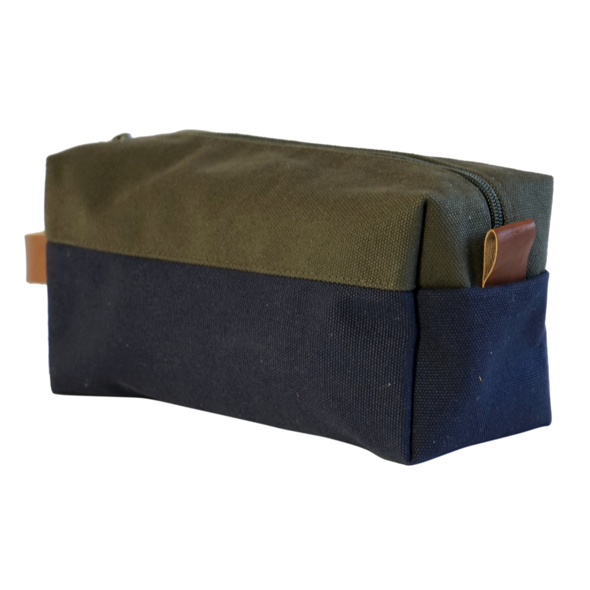 Dopp Kit in Olive/Navy Canvas