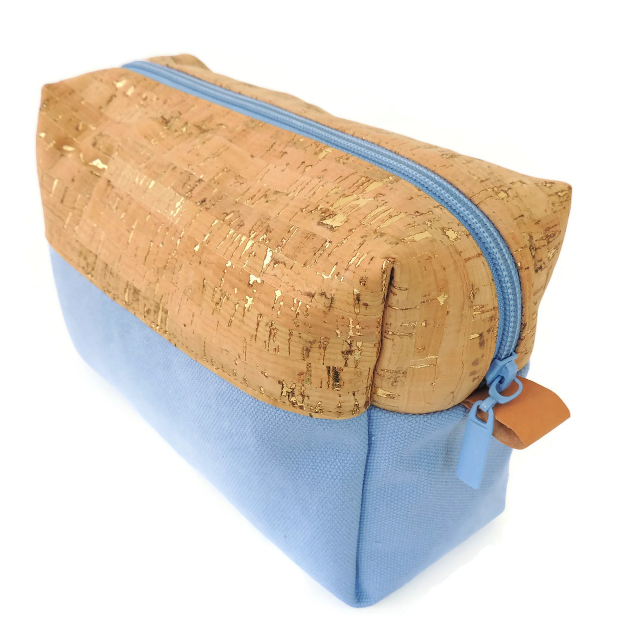 Makeup Bag in Cork Dash Gold with Sky Blue Canvas