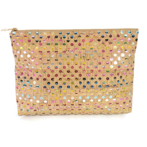 Carryall Clutch in Sequin Cork