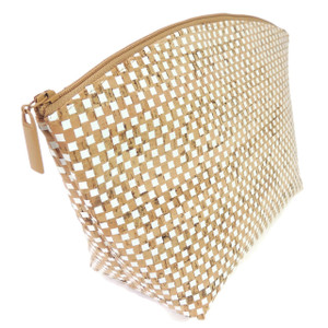 Extra Large Standing Pouch in White Check Cork