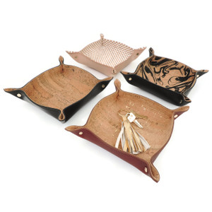 Leather Catchall Tray with Marble Cork