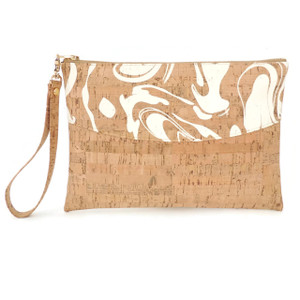 Smile Clutch in White Ink Cork
