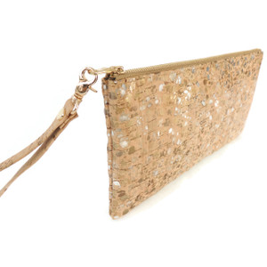 Wristlet in Metallic Pebble Cork
