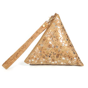 Triangle Pouch in Metallic Pebble Cork