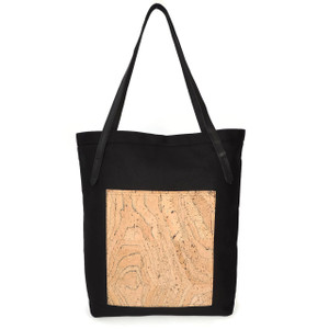 Pocket Tote in Black Twill with Marble Cork
