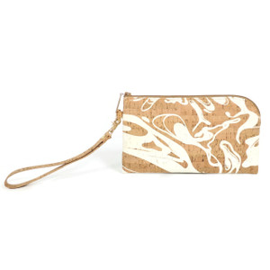 Phone Wristlet in White Ink Cork